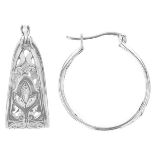 Hoop Earrings Plated Brass Wide Filigree - Silver