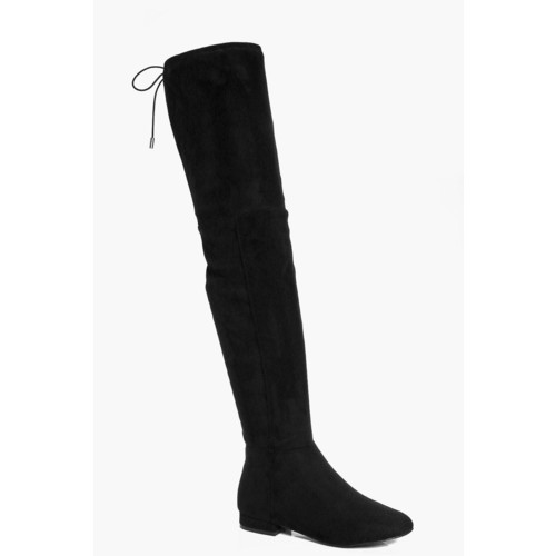 Lois Wide Fit Flat Thigh High Tie Back Boot