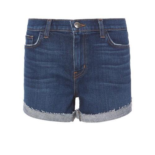 L'AGENCE Crystal Cove Fold-Back Denim Shorts