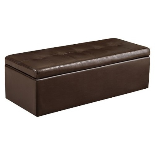 Abigail Brown Leather Storage Ottoman Chocolate Brown - Christopher Knight Home
