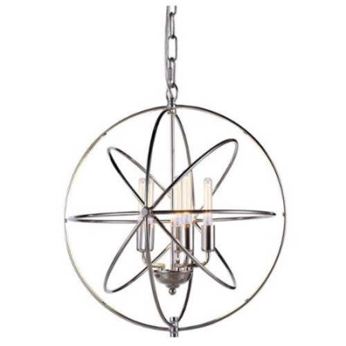 5-Light Pendant Lamp in Polished Nickel Finish