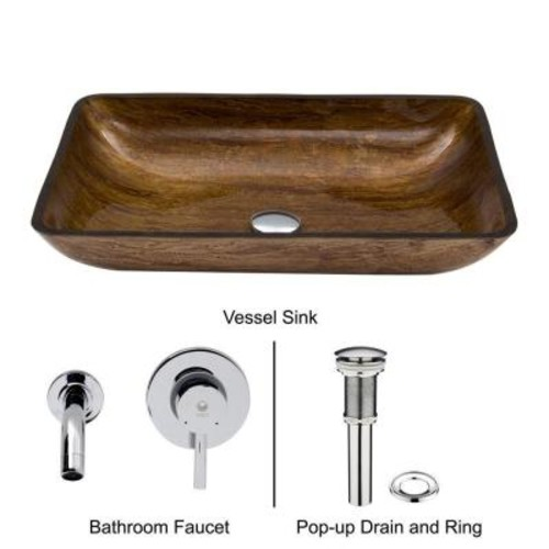 VIGO Rectangular Glass Vessel Sink in Amber Sunset with Wall-Mount Faucet Set in Chrome