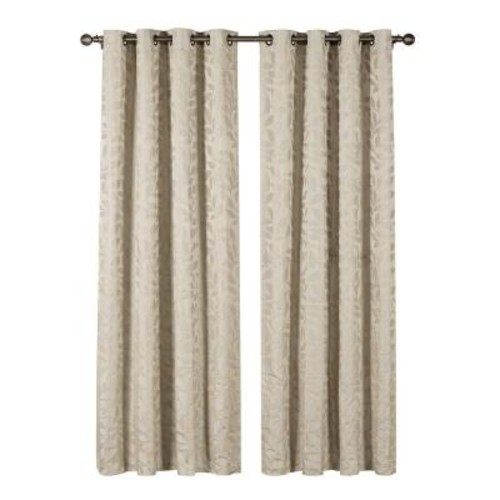 Window Elements Semi-Opaque Alpine Textured Woven Leaf Jacquard 84 in. L Grommet Curtain Panel Pair, Ivory (Set of 2)