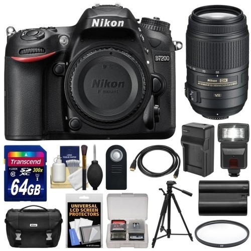 Nikon - Bundle D7200 Wi-Fi Digital SLR Camera Body with 55-300mm VR Lens