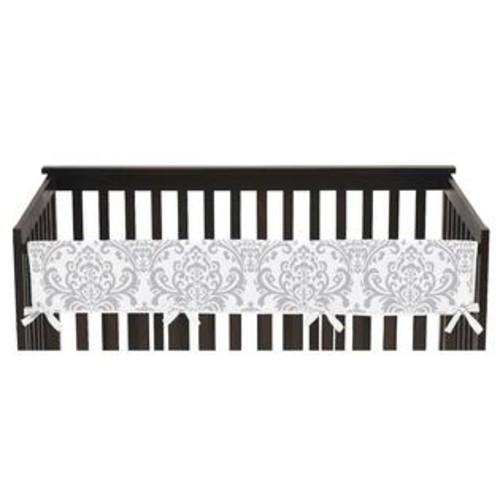 Sweet Jojo Designs Elizabeth Collection Pink/Grey Cotton Damask Print Long Crib Rail Guard Cover