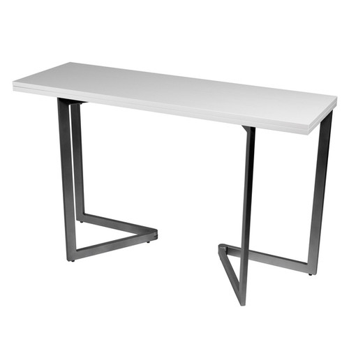 Expanding Rectangular Espresso-finished Steel and MDF Console Table