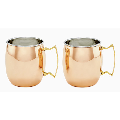 Dutch 2 Piece Solid/Stainless Steel Moscow Mule Mugs 2-Ply Set, 16 oz, Copper