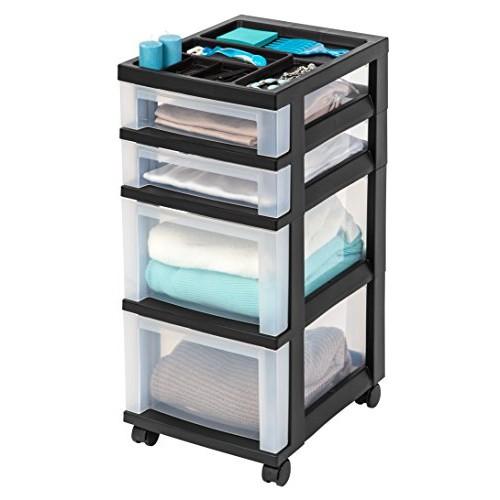 IRIS 4-Drawer Storage Cart with Organizer Top, Black