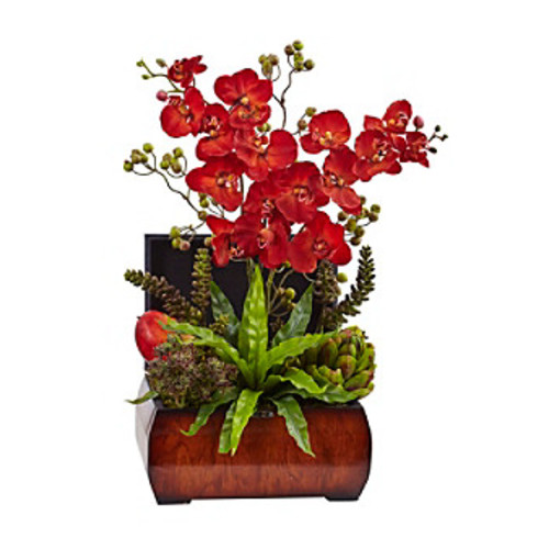 Nearly Natural Autumn Orchid and Succulent Arrangement with Chest