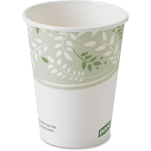 Dixie EcoSmart Viridian Paper Hot Cups - 8 fl oz - 1000 / Carton - White, Green - Paper, Polylactic Acid (PLA) - Hot Drink