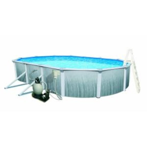 Blue Wave Martinique 18 ft. x 33 ft. Oval 52 in. Deep 7 in. Top Rail Metal Wall Swimming Pool Package