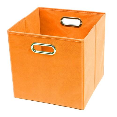 Modern Littles Folding Storage Bin in Solid Orange