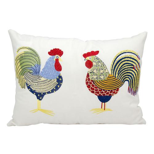 Mina Victory Rooster Outdoor Rectangular Throw Pillow