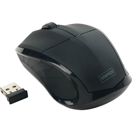 Staples Wireless Optical Mouse with Nano Receiver; 2.4GHz, Black