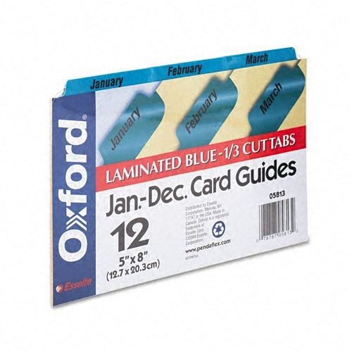 REG Laminated Index Card Guides Monthly 1/3 Tab Manila 5 x 8 12/Box