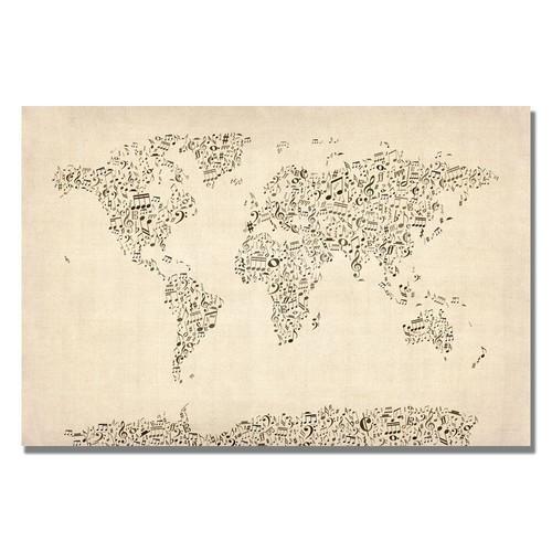 Trademark Global Michael Tompsett 'Music Note World Map' Canvas Art [Overall Dimensions : 16x24]