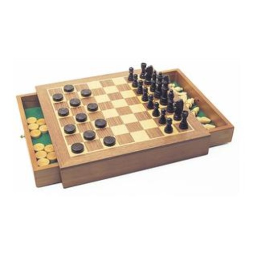 House of Marbles Deluxe Wooden Chess Checkers Draughts Game