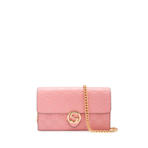 GUCCI Icon Ssima Wallet On Chain, Soft Pink