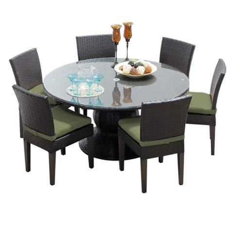 Miseno MPF-NAPA60KIT6C Wine Country 7-Piece Aluminum Framed Outdoor Dining Set with Round Glass Tabletop and Side Chairs - N/A