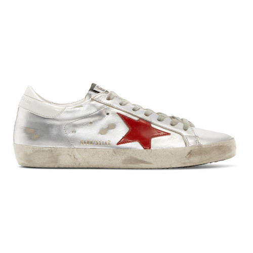 GOLDEN GOOSE Silver & Red Superstar Sneakers