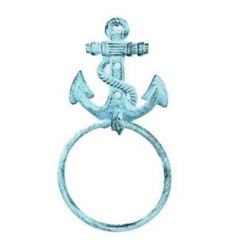 Longshore Tides Cast Iron Anchor Towel Holder; Dark Blue