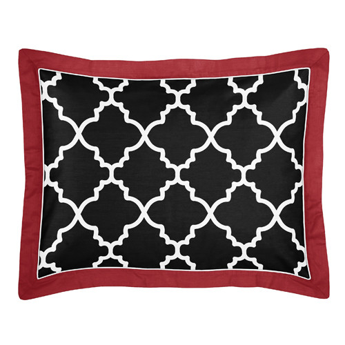 Sweet Jojo Designs Red and Black Trellis Collection Body Pillow Case