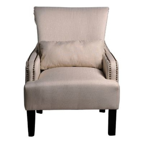 Container Upholstered Arm Chair; Beige