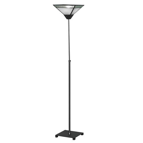 Springdale Lighting Albion 65.5 in. Satin Nickel Floor Lamp with Hand Blown Art Glass Shade
