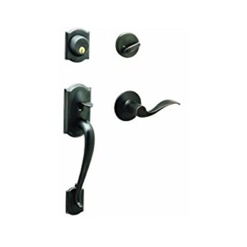 Camelot Single Cylinder Handleset and Accent Lever, Aged Bronze (F60 V CAM 716 ACC)