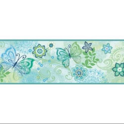 Brewster TOT46453B Wallpaper Fantasia Home Decor Borders ;Blue Boho Butterflies