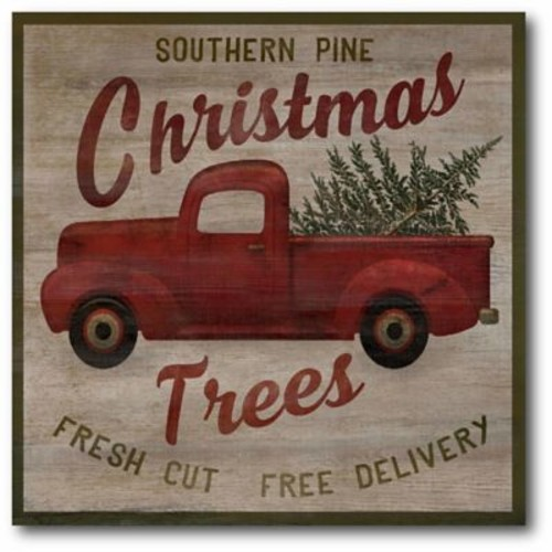 The Holiday Aisle 'Pick Up Truck Trees' Graphic Art Print on Canvas