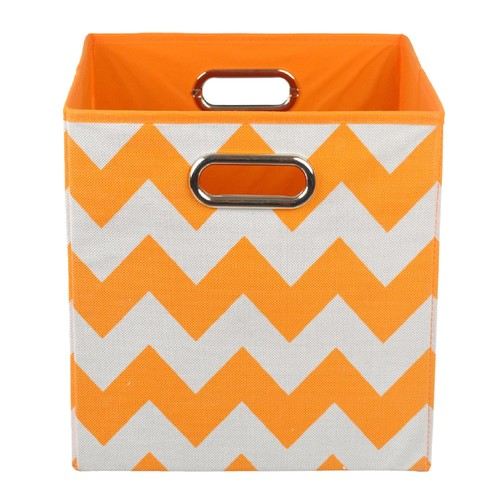 Modern Littles Chevron Folding Storage Bin - Bold Orange