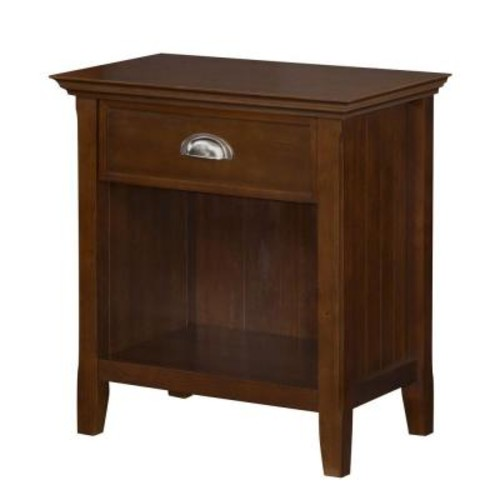 Simpli Home Acadian 1-Drawer Tobacco Brown Nightstand