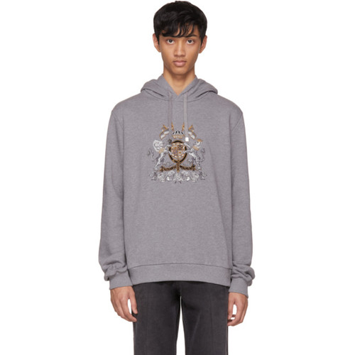 Grey Embroidered Crest Hoodie
