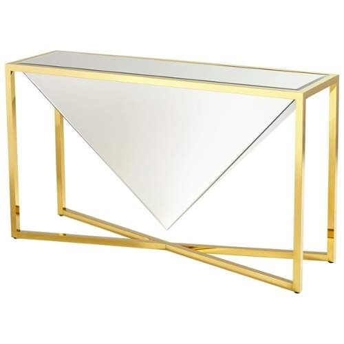 Cyan Design Titan Console Table Titan 55 Inch Long Brass and Clear Glass Console Table