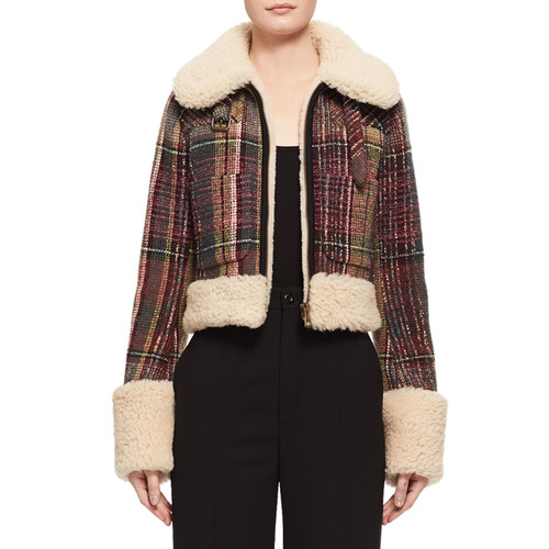 CHLOE Tweed Check Shearling-Lined Jacket, Multi