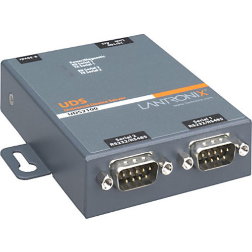 Lantronix 2 Port Serial (RS232/ RS422/ RS485) to IP Ethernet Device Server - US Domestic 110 VAC