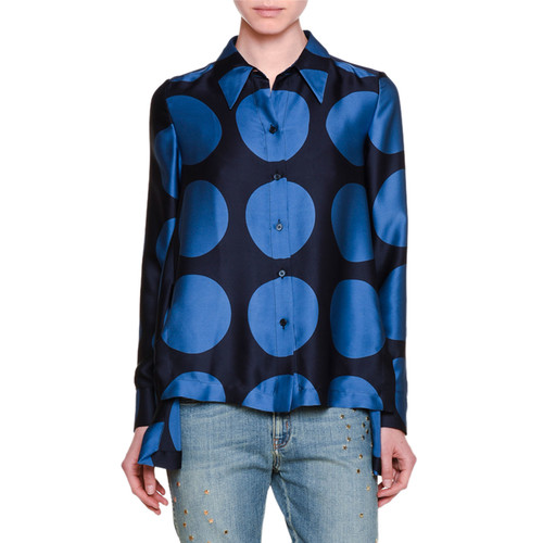 STELLA MCCARTNEY Long-Sleeve Polka Dot Swing Blouse, Black/Blue