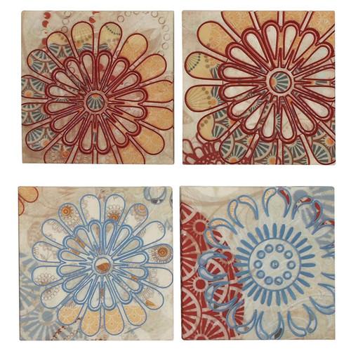 'Flower Blossom' 4-piece Embroidery Canvas Multidirectional Wall Art Decor