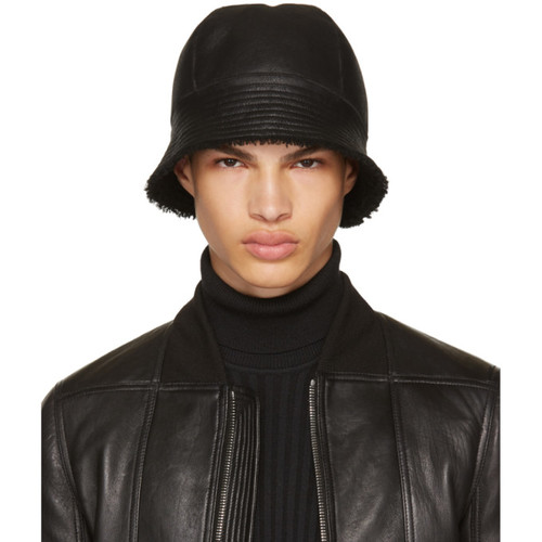 RICK OWENS Black Shearling Gilligan Bucket Hat
