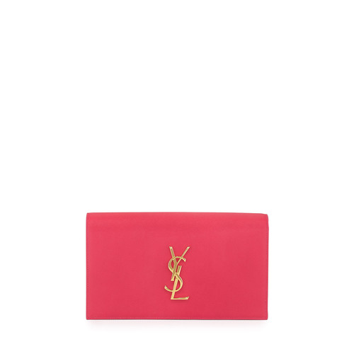 SAINT LAURENT Monogram Grain Calfskin Clutch Bag, Fuchsia