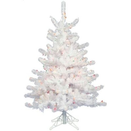 Vickerman Crystal White 2' Artificial Christmas Tree w/ 50 Dura-Lit Clear Lights