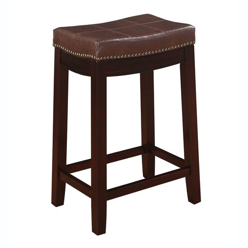 Linon Claridge Patches Vinyl Counter Stool; Brown