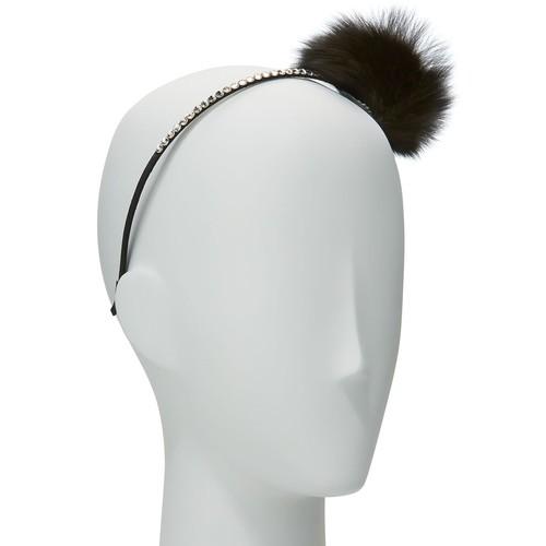 Girls' Rhinestone & Fox Fur Pompom Headband, Black