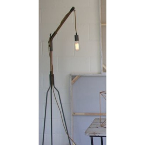 17 Stories Elias Wooden Iron Swinging 53.75'' Tripod Floor Lamp