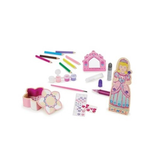 Melissa & Doug Decorate-Your-Own Wooden Princess Set Craft Kit - Doll, Treasure Box, and Mirror