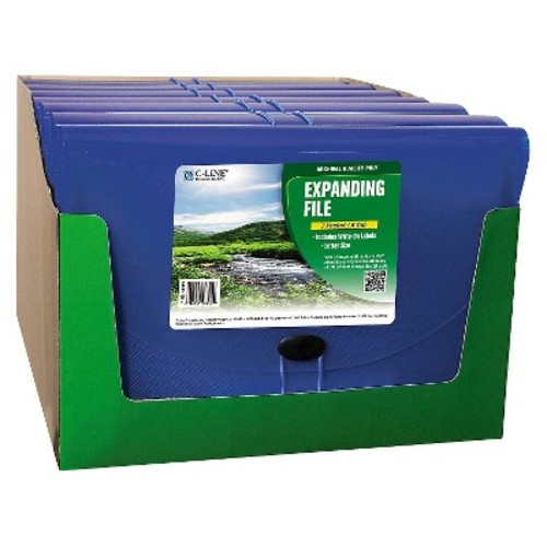 C-Line Biodegradable Expanding File, 7-Pocket, 6-Tab, Letter, Blue (CLI48305)
