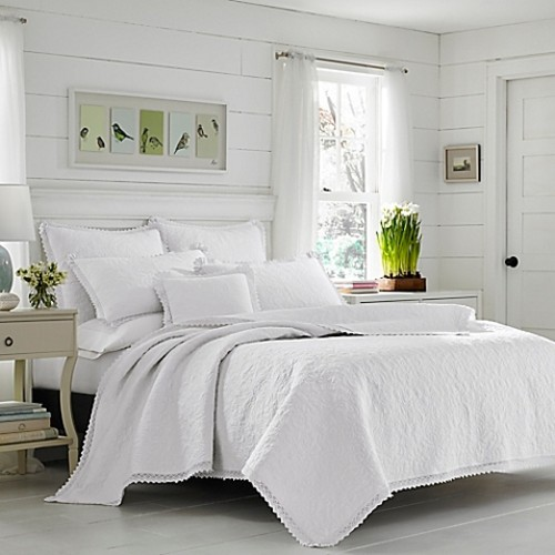 Laura Ashley Heirloom Twin Quilt Set in White