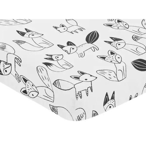 Sweet Jojo Designs Black and White Fox Collection Fitted Crib Sheet - Black and White