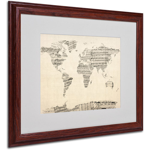 Trademark Art 'Old Sheet Music World Map' Matted Framed Art by Michael Tompsett